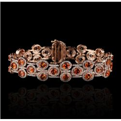14KT Rose Gold 15.50ctw Orange Sapphire and Diamond Bracelet FJM2225