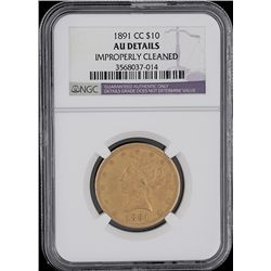 1891-CC $10 Liberty Head Eagle Gold Coin Graded NGC AU Details GCE149
