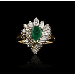 14KT Yellow Gold 1ctw Emerald & Diamond Ring GB617