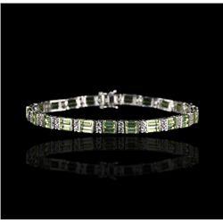 SILVER Peridot and White Sapphire Bracelet FJM2160