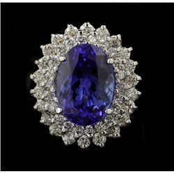 14KT White Gold 8.52ct Tanzanite and Diamond Ring FJM2359