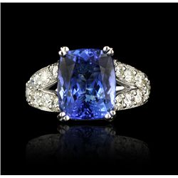 14KT White Gold 6.26ct Tanzanite and Diamond Ring A4146