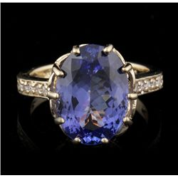 14KT Yellow Gold 3.47ct Tanzanite and Diamond Ring A4557