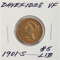 1901-S $5 VF Liberty Head Half Eagle Gold Coin DaveF1026
