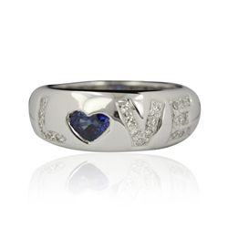 14KT White Gold 0.47ctw Sapphire and Diamond Love Ring FJM2410