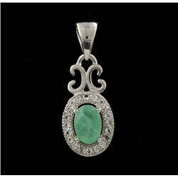 SILVER Emerald and White Sapphire Pendant SLV33