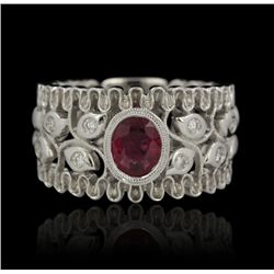 14KT White Gold 0.75ct Ruby and Diamond Ring FJM2422