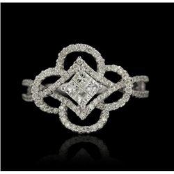 14KT White Gold 0.76ctw Diamond Ring FJM2423