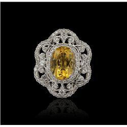 SILVER 5.92ct Citrine Quarts and White Sapphire Ring RM875