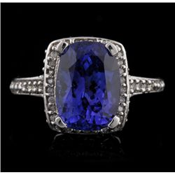 14KT White Gold 4.91ct Tanzanite and Diamond Ring A4540