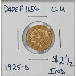 1925-D $2 1/2 CU Indian Head Quarter Eagle Gold Coin DaveF1156
