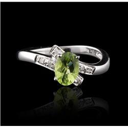 18KT White Gold 0.91ct Peridot & Diamond Ring FJM2568