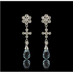 14KT White Gold 3.45ctw Blue Topaz and Diamond Earrings FJM2475