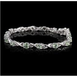 SILVER 8.61ctw Green Sapphire Bracelet SLV58