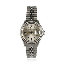 Ladies Rolex Date Stainless Steel and Diamond Wristwatch GB728
