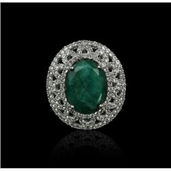 SILVER 11.66ct Enhanced Emerald and White Sapphire Ring RM774