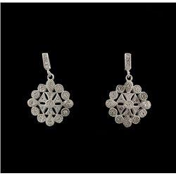 SILVER White Sapphire Filigree Style Earrings SLV21