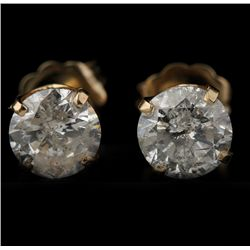 14KT Yellow Gold 1.50ctw Diamond Solitaire Earrings GB846