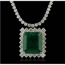 18KT White Gold 16.90ct Emerald and Diamond Necklace A4264