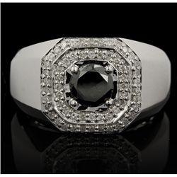 18KT White Gold 1.51ctw Black and White Diamond Ring FJM2323