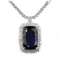 18KT White Gold 27.71ct Tanzanite and Diamond Necklace FJM2382