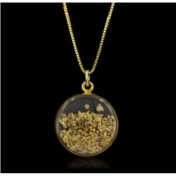 14KT Yellow Gold Encased Gold Flake Pendant with Chain GB1079
