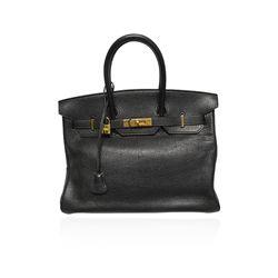Authentic Hermes 35cm Birkin Bag in Noir Retourne V2
