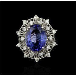 14KT White Gold 5.97ct Tanzanite and Diamond Ring A4211