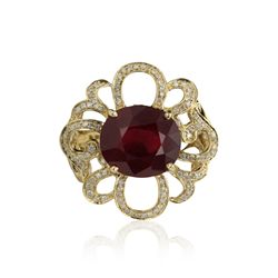 14KT Yellow Gold 8.32ct Ruby and Diamond Ring RM928