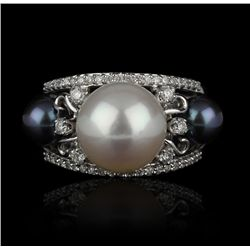 14KT White Gold 6-11mm Pearl and Diamond Ring FJM2045