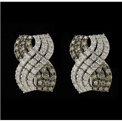 14KT White Gold 1.72ctw Fancy Brown and White Diamond Earrings FJM2333