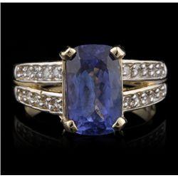 14KT Yellow Gold 3.55ct Tanzanite and Diamond Ring A4533