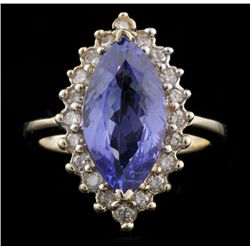 14KT Yellow Gold 3.09ct Tanzanite and Diamond Ring A4529