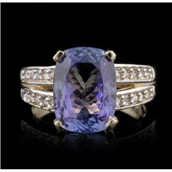 14KT Yellow Gold 4.75ct Tanzanite and Diamond Ring A4530
