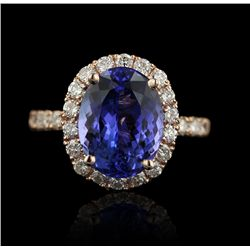 14KT Rose Gold 5.57ct Tanzanite and Diamond Ring A4207