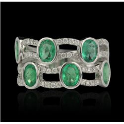18KT White Gold 1.95ctw Emerald and Diamond Ring FJM2464