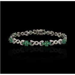14KT White Gold 5.01ctw Emerald and Diamond Bracelet FJM2466