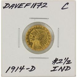 1914-D $2 1/2 C Indian Head Quarter Eagle Gold Coin DAVEF1172