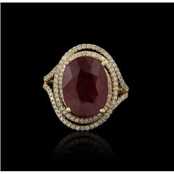 14KT Yellow Gold 7.91ct Ruby and Diamond Ring RM922