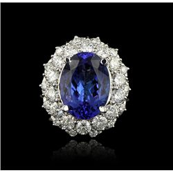 14KT White Gold 5.00ct Tanzanite and Diamond Ring A4159