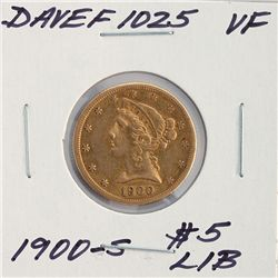 1900-S $5 VF Liberty Head Half Eagle Gold Coin DaveF1025
