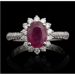 14KT White Gold 1.31ct Ruby and Diamond Ring FJM2506
