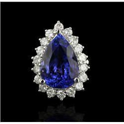 14KT White Gold 6.92ct Tanzanite and Diamond Ring A4205
