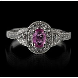 14KT White Gold 0.50ct Pink Sapphire and Diamond Ring FJM2291
