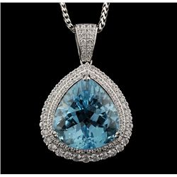 SILVER 49.58ct Blue Topaz and White Sapphire Pendant with Chain RM830