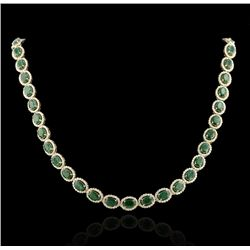 14KT Gold 31.78ct Emerald & 8.32ct Diamond Necklace RM677