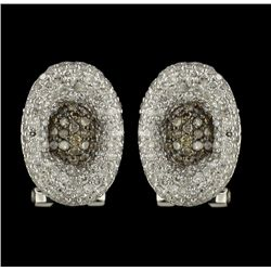 14KT White Gold 1.07ctw Fancy Brown and White Diamond Earrings FJM2181