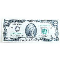 A very rare US two dollar bill, in mint condition