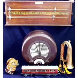 "A vintage Ekco radio receiver, type AD75, circular brown Bakelite  case, 14.5"" high"