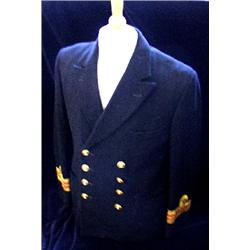 A Merchant Navy Officer's jacket, complete with eight brass QC buttons